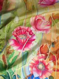 Hand Painted Silk Scarf Red poppies.Handmade