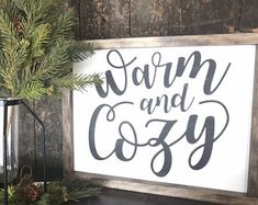 Warm and Cozy Sign Thanksgiving Signs, Fall Signs, Warm And Cozy, Wood Signs, Gallery Wall, Wall Decor, Wall Ideas, Handmade, Etsy