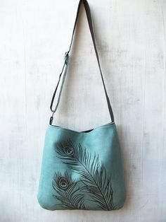 Hemp Messenger Bag / Tote Bag with Peacock Feathers by Uzura