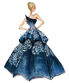 Dark blue one strapped gown with glitter sitting on the frills