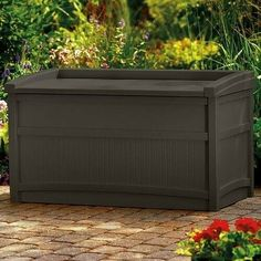 Brown storage box perfect for patio, deck, garden, poolside. Protect from weather your outdoor accessories with this 50 Gal. - Storage capacity equivalent to 50 Gal.