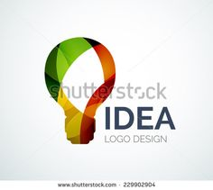 Abstract light bulb logo design made of color pieces - various geometric shapes…