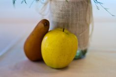For my post #wedding party I had in my hometown, we used fall fruit as decorations! Photo Credit: http://piecefulwedding.com