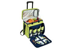 Picnic Cooler for 4 w/ Wheels, Green, Acrylic / Lucite, Coolers & Thermal Bags