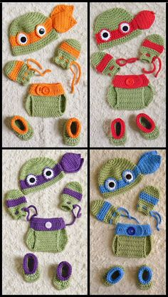 Ninja Turtles Crochet Baby Hat & Diaper Cover Photo Prop. Size 0-3 months Hat has a 13-14 head diameter and is 5 1/2-6 high from top to