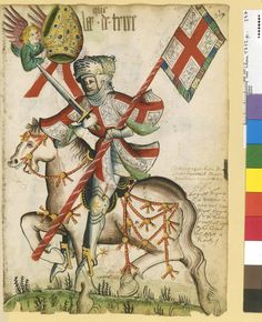 Bishop in armor, Petit armorial équestre de la Toison d'or MS Clairambault 1312, Fol. 237, ~1460-70