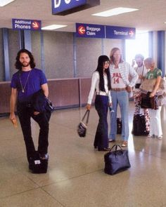 The Doors waiting at the airport, 1968