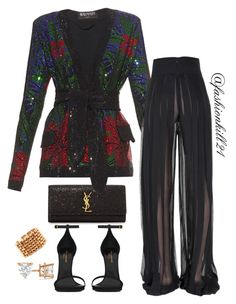 Untitled #1166 by fashionkill21 on Polyvore featuring polyvore fashion style Balmain Yves Saint Laurent Retrò Allurez clothing