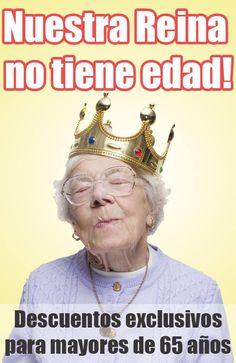 Para los mayores de 65 años descuentos exclusivos!!