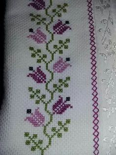 This Pin was discovered by Ayf Sadece 2 Dakika`da göz altı to Discover thousands of images about Kaneve Towel with Cross-Stitch Cross Stitch Bookmarks, Cross Stitch Rose, Cross Stitch Borders, Cross Stitch Flowers, Cross Stitch Charts, Cross Stitch Designs, Cross Stitching, Cross Stitch Embroidery, Embroidery Patterns