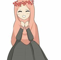 Girl Hair Drawing, Hijab Drawing, Cute Love Cartoons, Cute Cartoon, Cute Characters, Anime Characters, Muslim Pictures, Anime Korea, Gratis Download