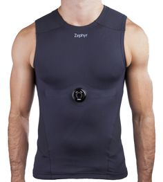 "Compression Shirt by Zephyr Technology holds a sensor device, the BioModule. This monitors ""speed, heart rate, heart rate variability (HRV), breathing rate, intensity and load, jump and dash, recovery time and even core body temperature."" http://www.zephyr-technology.com/"