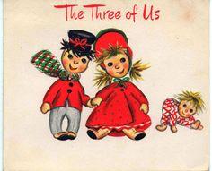 Used c1960s Christmas card dolls good shape