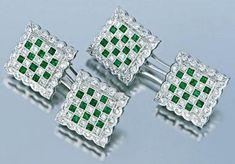 Pair Of Chessboard Squared Gold Emerald & Diamond Cufflinks