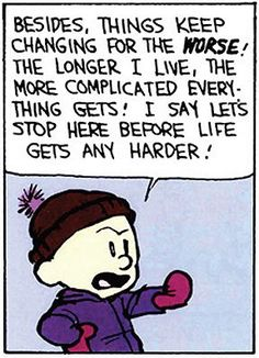 Calvin and Hobbes - I say let's stop here before life gets any harder!