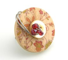 Wood Wire Wrapped Button Ring by TrinketsNWhatnots on Etsy, $25.00