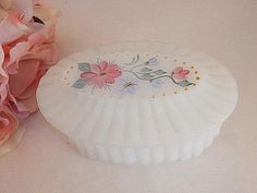 Jewelry Box Ring Keeper Hand Painted White Glass Trinket Dish