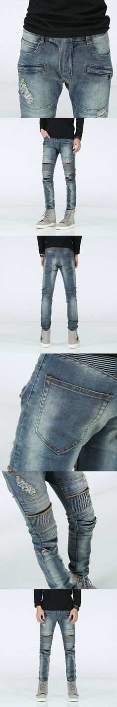 New Distressed Biker Jeans Men High Quality Fashion Mens Casual Slim Elastic Straight Denim Jeans Skinny Jeans Men Pants 29-42