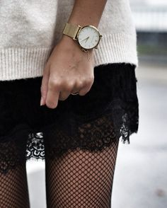 lace detailed dress, fishnet stockings and chunky white sweater - perfect autumn. - lace detailed dress, fishnet stockings and chunky white sweater – perfect autumn and fall outfit - Look Fashion, Skirt Fashion, Winter Fashion, Luxury Fashion, Fishnet Stockings, Fishnet Tights, Fish Net Stockings Outfit, Mode Outfits, Winter Outfits