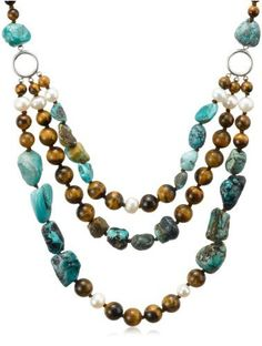"""Tiger Eye, Turquoise and White Freshwater Cultured Pearl Three-Row Necklace with Sterling Silver Clasp, 19.5+4"""" Extender Amazon Curated Collection, http://www.amazon.com/dp/B001WAJ1QQ/ref=cm_sw_r_pi_dp_1jm4pb0Y61BKC"""