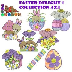 """""""Easter Delight 1"""" Collection for 4x4 hoops will have everyone stitching up alot of fun and delightful #machineembroidery Easter projects. Great for garments, young and old alike, and decor too. Bunnies, Easter eggs and more! Hop right this way to get yours!"""