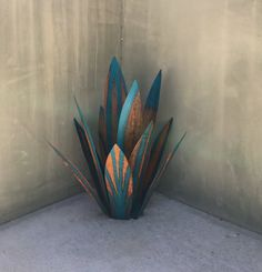 2 1/2 Foot Blue TequilaRusticSculptureMetal ArtGarden