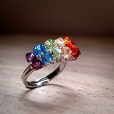 Rainbow Ring Swarovski  Adjustable Silver by rozzie on Etsy, $20.00