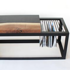Gorgeous black, walnut and black steel Brute Plate Magazine Rack by Concrete Pig. In store now at Forage Modern Workshop.
