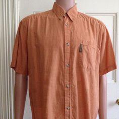 Columbia Shirt Mens Size L Large Orange Short Sleeve Button Front Cotton #Columbia #ButtonFront