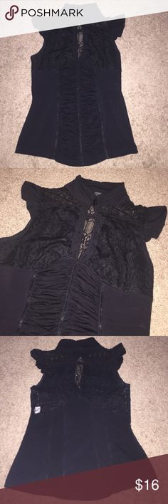 XOXO Black Lace Blouse Top Shirt Sleeveless Worn twice, in excellent condition. 96% nylon 4% spandex. XOXO Tops Blouses