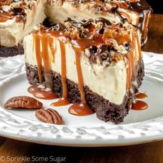 This extra creamy no-bake caramel turtle cheesecake is stuffed with chopped pecans, caramel, and hot fudge, all on top of a chewy brownie bottom.