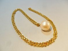 """Vintage Flapper Necklace Signed TRIFARI 36"""" Long Faux Pearl Bauble Gold Tone Metal Runway Retro Art Deco Statement 1960's by KathiJanes on Etsy"""