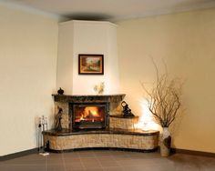 Dark brown Fireplace frame and hearth Corner Fireplace Mantels, Bedroom Fireplace, Home Fireplace, Living Room With Fireplace, Fireplace Design, Fireplace Frame, Living Room Modern, Interior Design Living Room, Traditional Fireplace