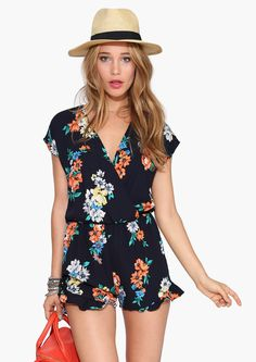 Adorable floral romper with cute fedora hat! Perfect for summer!