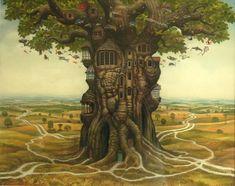 Enhabited oak - Jacek Yerka
