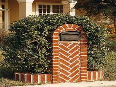 Herringbone Brick Mailbox Ideas With Planters, mail box, brick mailbox designs ~ Home Design Mailbox Planter, Mailbox Garden, Mailbox Landscaping, Landscaping Jobs, Garden Bed, Unique Mailboxes, Custom Mailboxes, Brick Yard, Brick Driveway