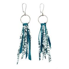 Turquoise Leather Earrings  by Victoria Kray