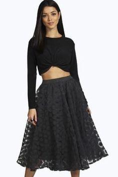 Olivia Organza Polka Dot Full Midi Skirt