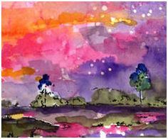 Watercolor Painting:  Modern Watercolor Landscape, by Ginette Callaway - Art.com