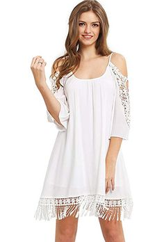 280cc6b3c043 Milumia Women's Summer Cold Shoulder Crochet Lace Sleeve Loose Beach Dress  White Rayon Spaghetti Strap, Lace Decoration, Sexy Design Runs Large,Very  loose ...