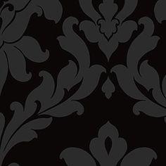 matt shiny black damask wallcovering [BLCK-17750] : Designer Wallcoverings, Specialty Wallpaper for Home or Office