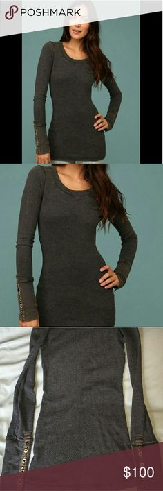 Free people thermal Free people Gray thermal with studded cuffs. No trades, thanks! free people Tops