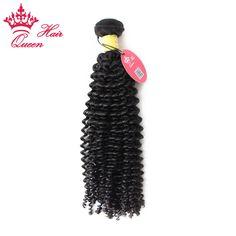 Queen Hair Products Peruvian Virgin Hair Kinky Curly 1PC Curly Natural Virgin Human Hair Weave Kinky Curly Hair #1B DHL Free