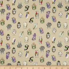 Monet Rayon Sateen Owls Khaki from @fabricdotcom  This rayon fabric has a beautiful fluid drape and an ultra soft luxurious hand. It is perfect for creating shirts, blouses, gathered skirts and flowing dresses with a lining. Colors include purple, white, black, fuchsia and turquoise on a khaki background.