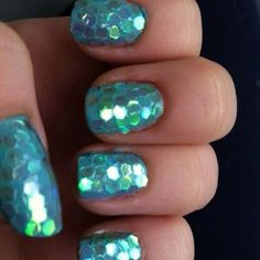 Mermaid nails. I might just add a little something to the ring finger nail to make it extra special