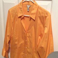 Banana Republic Blouse, NWOT Light orange-yellow blouse, 98% cotton, 2% spandex! tags cut off, but never worn Banana Republic Tops Blouses