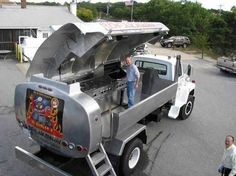 #DIY Firefighter Idea: A Oil Truck turned into a BBQ/ kitchen. Another exceptional way to reuse & #recycle old equipment. #BBQ