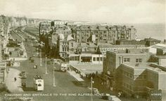 Hove seafront - the King Alfred, on the right - every week at Hove Manor school we had swimming lessons there. Also note the white open-top buses they used to ply the route between Rottingdean and Hove Lagoon. Old Images, Old Photos, Images Of England, Brighton And Hove, Swim Lessons, East Sussex, East Coast, Paris Skyline, Dolores Park