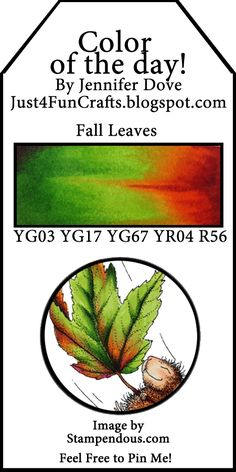 Copic Fall Leaves Color of the Day 36 and DoveArt Studios) Copic Marker Art, Copic Pens, Copic Art, Copic Sketch, Sketch Markers, Copic Drawings, Copic Color Chart, Copic Colors, Color Charts