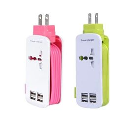 The Smartest Travel Charger with 4 USB ports with a World Adapter and a 5ft extension to charge via the wall outlet. A true Travel Charger that gives you up to 4 USB ports and can adapt to 90% of the